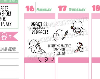 Munchkins -  Writing, Brush Lettering and Calligraphy Practice Planner Stickers (M372)