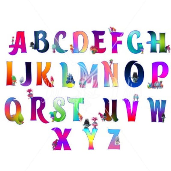 Trolls Letters 56 Png Electronic Cutting Files Bundle