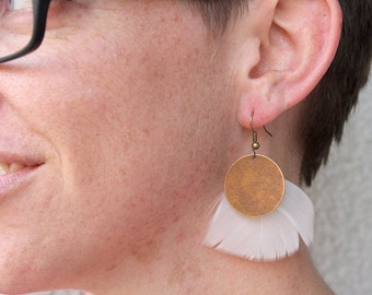 Brass Coin and White Turkey Feather Earrings