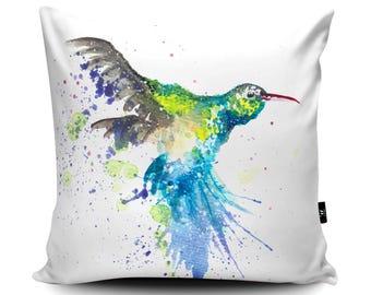 Hummingbird Vegan-Suede Cushion   Hummingbird Pillow   Bird Cushion Cover   Decorative Bird of Paradise Cushion Gift by Katherine Williams