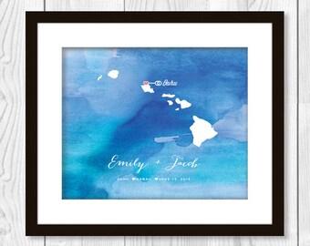 Watercolour Hawaii Wedding Map Print - Printable Anniversary or Wedding Gift