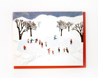 Ice Skating in the Park Card // Set of 8