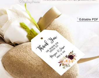 Wedding Thank You Tags, Floral Wedding Thank You Tags, Wedding Favor Tags, Gift Tags, #A024, Instant Download, Editable PDF