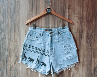 High waist vintage denim shorts Size 9/10| Ripped distressed shorts | Painted aztec tribal denim | Hipster shorts | Festival bohemian shorts