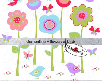 Clementine Flowers & Birds: Clip Art Pack (300 dpi transparent png) Card Making Digital Scrapbook Page Border Pink Purple Blue Green