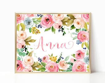 Floral Nursery Decor. Baby Girl Gift. Girl Nursery Wall Art. Girl Nursery Decor. Nursery Name Sign. Baby Name Sign. Personalized Name Print.