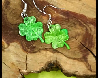 """Green """"Lucky Clovers""""  Ladies Shamrock Dangle Earrings, St. Patrick's Day, Four Leaf Clover Charms, Green Jewelry, Spring"""