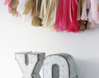 XO METAL LETTERS Free Standing Silver or Custom Color Valentine's Day Valentine Decor xoxo Vday Party Love Stand Up Photo Prop Rustic Zinc