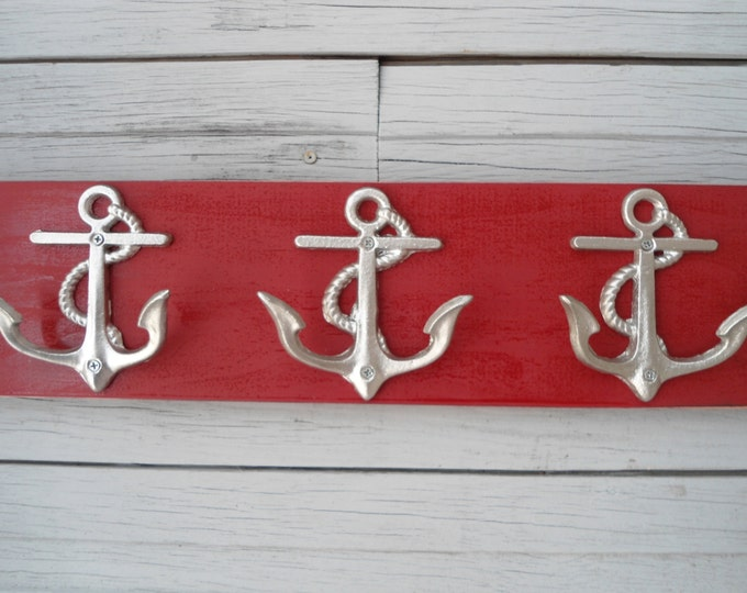 Anchor towel rack hooks storage bathroom towel holder nautical nursery mudroom mancave boat cabin lake beach house dreams Outer Banks OBX