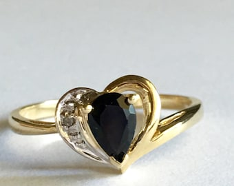 Heart Ring, 10K Gold Sapphire Ring, Valentines Day Jewelry, Vintage Rings