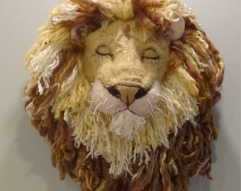 lion head faux taxidermy animal head wall art couture