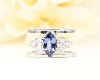 Marquise Tanzanite Engagement Ring.Diamond Engagement Ring.14k White Gold engagement Ring. 0.36ct High Quality Diamond Ring.Unique Ring.