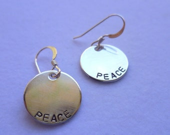 sterling stamped Peace earrings