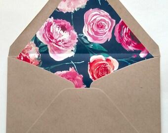 Floral-lined Envelopes