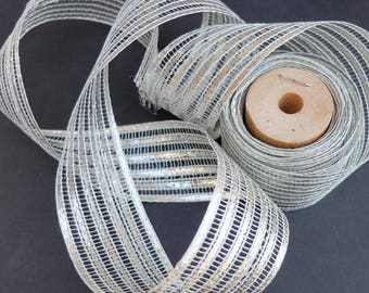 Vintage Tinsel Ribbon 2 Yards Trim Silver Metallic Stripe