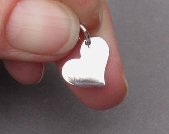 Silver Heart Charm, Valentine's Day Gift, Sterling Silver Heart Pendant, Bracelet Charm, Heart Necklace Charm with Jump Ring