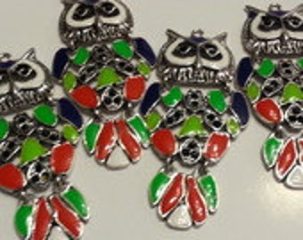 2 large owls 7.5 cm metal charms
