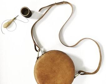 Leather Circle Bag, Round Bag, Brown Leather Bag, Crossbody Bag, Leather Handbag