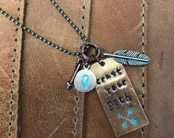 Trust Your Path Hand Stamped Necklace