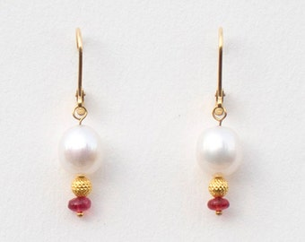 Pearl Lantern Earrings, 9.4 x 37 mm