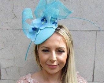 Aqua Light Turquoise Blue Orchid Flower Feather Hat Hair Fascinator Races 5771
