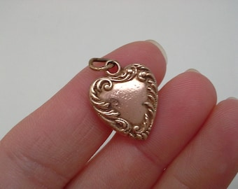 Victorian Charm, Small Heart Charm, Antique Heart Charm, Heart Pendant, Gold Heart Charm, Repousse Charm, Monogrammed Heart, Victorian Heart
