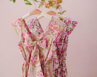 floral bridesmaid dresses Cap sleeve dress Lolita dress bow back floral dress summer sundress Pink and green dress