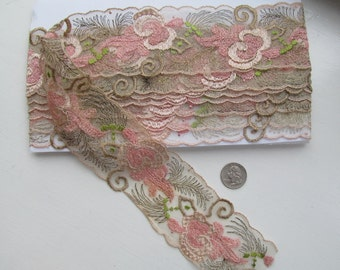 EMBROIDERED NET TRIM 4 Yards mid 1900s
