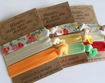 Bloom Where You Are Planted Soft Hair Ties - Cream Floral - No Crease Hair Tie - Party Favors - Soft Hair Tie - Workout Accessory