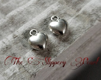 Heart Charms Silver Heart Charms Puff Heart Charms Silver Charms Wholesale Charms Love Charms 10 pieces