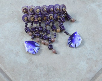 Vintage Purple Dangle Wood Beads and Fish Hair Jewelry Barrette
