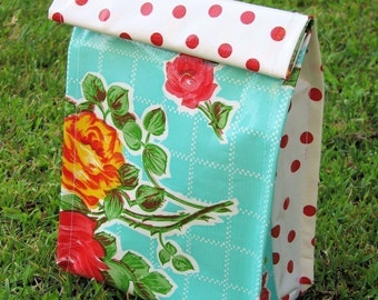 Double patterned Oilcloth Lunch Sack- Red Polka Dot\/Turquoise Floral
