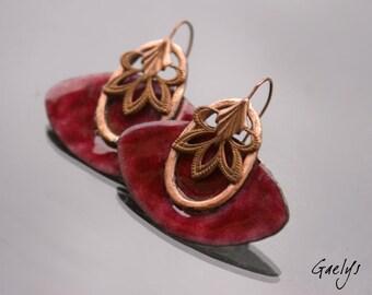 Abel - copper earrings enamel, copper and copper metal - bo Gaelys