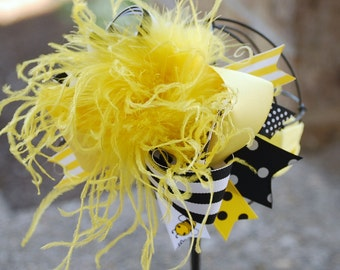 boutique BRIGHT BEE over the top hair bow on a headband