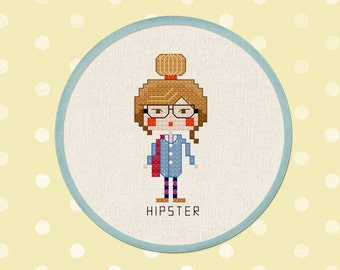 Hipster Girl Cross Stitch Pattern, Modern Simple Cute Counted Cross Stitch PDF Pattern. Instant Download