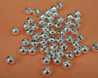 500pc-6mm Silver Beads, Silver Plated Round Silver Beads, Wholesale Beads, 500 Pieces of 6 mm silver beads, bulk Silver Beads, Round Medium