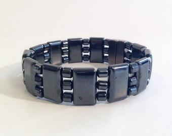 Magnetic hematite bracelet - triple stranded watchband style - custom sized