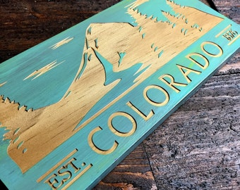 Colorado Est 1876 Mountain Wood Laser engraved sign FREE DOM. SHIPPING , Colorado art , State art , state sign , Colorado sign