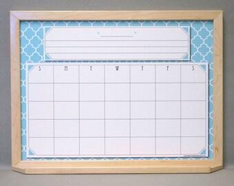 "Ocean Blue Moroccan / Spanish Tile Dry Erase Calendar - Blue Quatrefoil Print Whiteboard Calendar - 18"" x 24"" Large Dry Erase Wall Calendar"