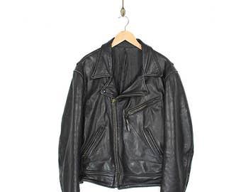 Vintage Black Leather Biker Jacket - 80s/90s Black Leather Motorcycle Jacket - 1980s/1990s Black Leather Biker Jacket Size Lrg/XL
