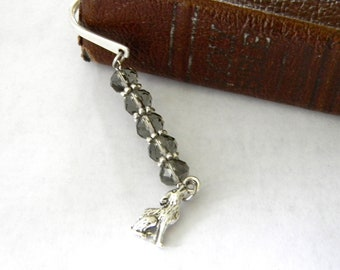 Wolf Bookmark with Smoky Quartz Glass Beads Shepherd Hook Steel Bookmark Silver Color