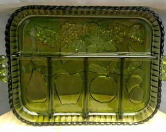 Collectible Indiana Glass Co. Serving Tray of Green Glass  / Fruit Sectional Platter / Glass  Fruit Tray / Organizer Tray / Candy Dish /F572