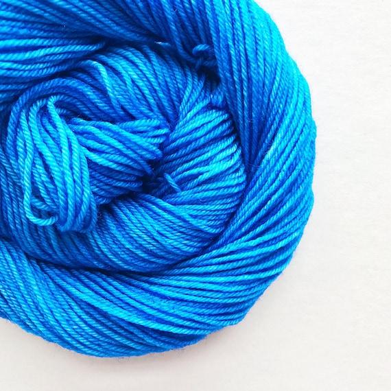 FRENCH BLUE hand dyed yarn fingering sock dk bulky yarn super wash merino wool yarn single or ply. choose your base. medium blue