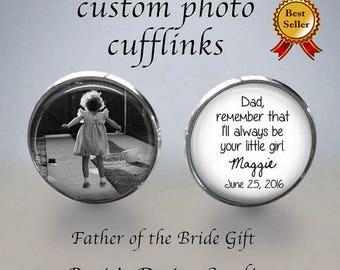 FATHER of the BRIDE Cufflinks - Bridal Cufflinks - Photo Cuff Links - Cuff Links - Father of the bride gift - Wedding Cufflinks