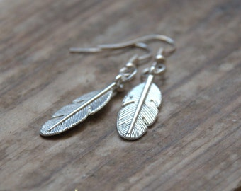 Feather dangle earrings silver plated charm Valentine gift for her Birthday party gift for her jewellery UK