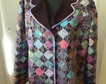 Unique wool &  cotton jacket with voile embellishment