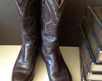 San Antonio Texas Lucchese Cowboy Boots Mahogany Brown Size 7,5 Men