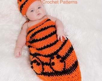 Baby Tiger Cocoon and Beanie Crochet Pattern PDF 337