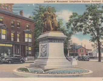 Portland, Maine Vintage Postcard - Henry Longfellow Monument, Longfellow Square, Portland's Native Son