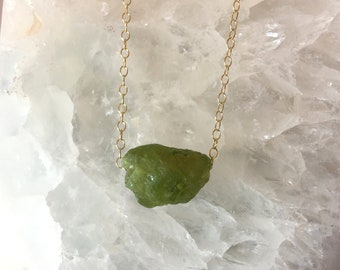 Raw Peridot Necklace August Birthstone Raw Crystal Necklace Rough Gem Stone Necklace Layering Necklace Dainty Stone Pendant Raw Stone